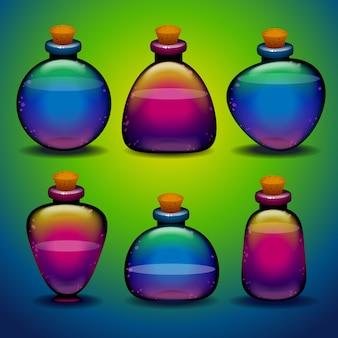 Kolekcja kolorowych butelek mikstur o różnych kształtach