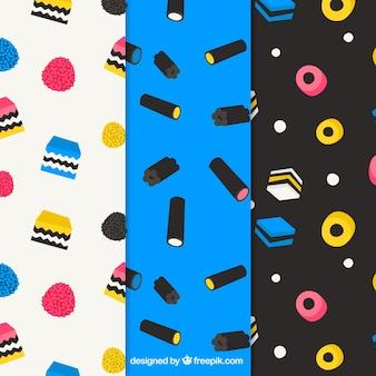 Kolekcja kolorowych cukierków w stylu płaski