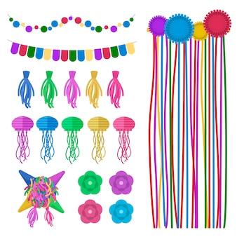 Kolekcja kolorowych dekoracji urodzinowych