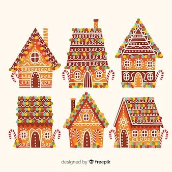 Kolekcja kolorowych domków z piernika na dachu