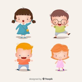 Kolekcja kolorowych dzieci o płaskiej konstrukcji