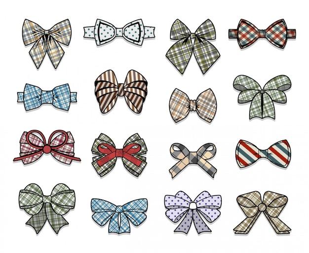 Kolekcja kolorowych eleganckich kokardek