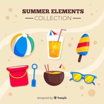 Kolekcja kolorowych elementów letnich