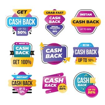 Kolekcja kolorowych etykiet cashback