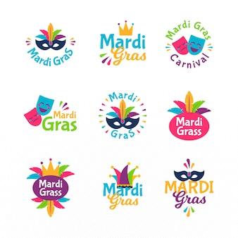Kolekcja kolorowych etykiet mardi gras