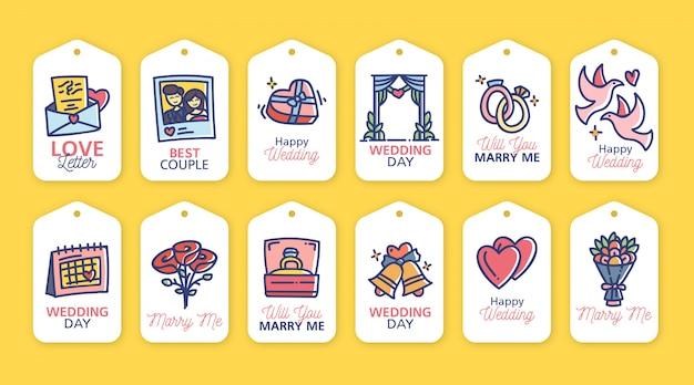 Kolekcja kolorowych etykiet ślubnych wyciągnąć rękę