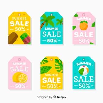 Kolekcja kolorowych etykiet sprzedaży latem