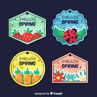 Kolekcja kolorowych etykiet wiosna