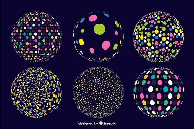Kolekcja kolorowych geometrycznych kształtów cząstek 3d