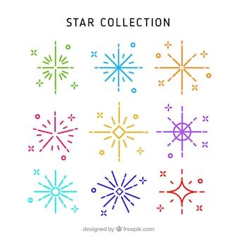 Kolekcja kolorowych gwiazd z liniami
