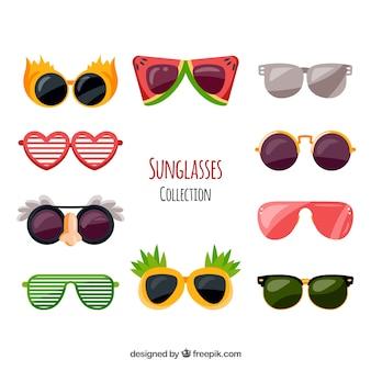 Kolekcja kolorowych i nowoczesnych okularów przeciwsłonecznych