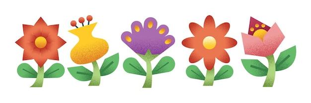 Kolekcja kolorowych ilustracji kwiatów w białym poziomym banerze