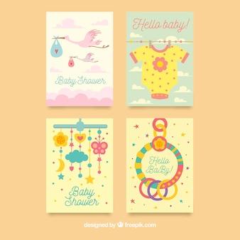 Kolekcja kolorowych kart baby shower