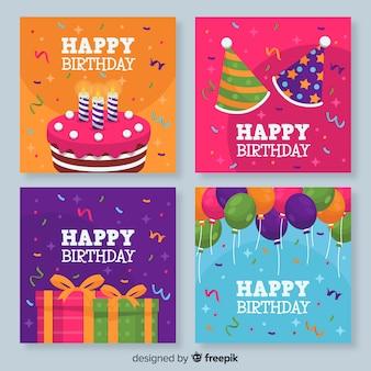 Kolekcja kolorowych kart urodzinowych