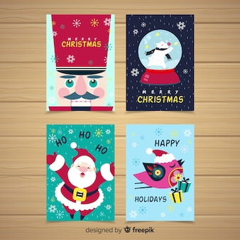 Kolekcja kolorowych kartek świątecznych