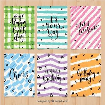 Kolekcja kolorowych kartek urodzinowych akwarela