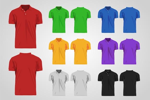 Kolekcja kolorowych koszulek polo z przodu iz tyłu