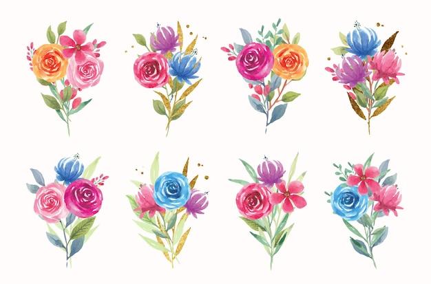 Kolekcja kolorowych kwiatów akwarela bukiet