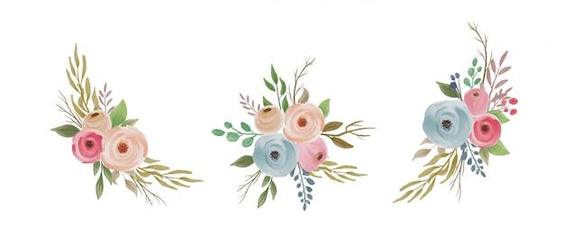 Kolekcja kolorowych kwiatów akwarela