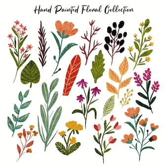 Kolekcja kolorowych kwiatów liści roślin lasów tropikalnych liści wiosennej flory w ręcznie rysowane malowanego stylu akwarela