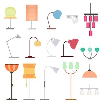 Kolekcja kolorowych lamp do wnętrz