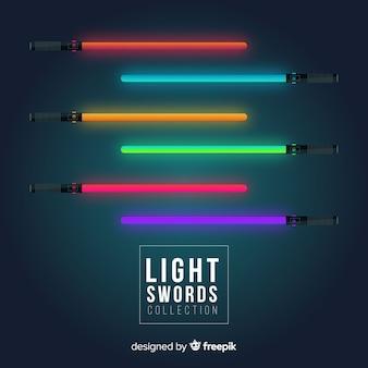 Kolekcja kolorowych lekkich mieczy