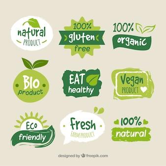Kolekcja kolorowych logo żywności ekologicznej