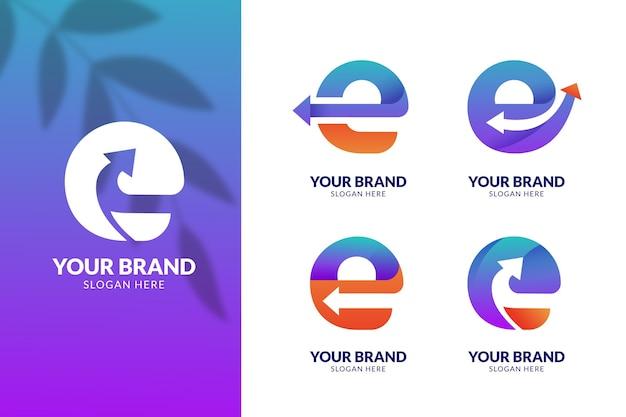 Kolekcja kolorowych logo e gradientu