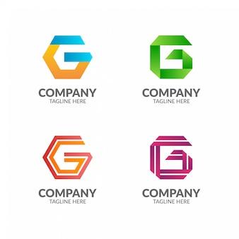 Kolekcja kolorowych logo geometryczne litery g.