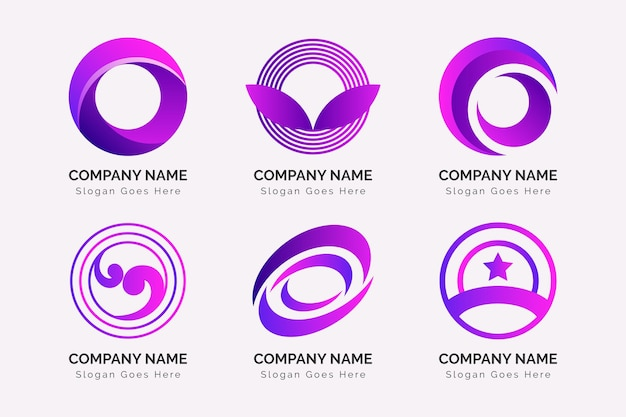 Kolekcja kolorowych logo o gradientu
