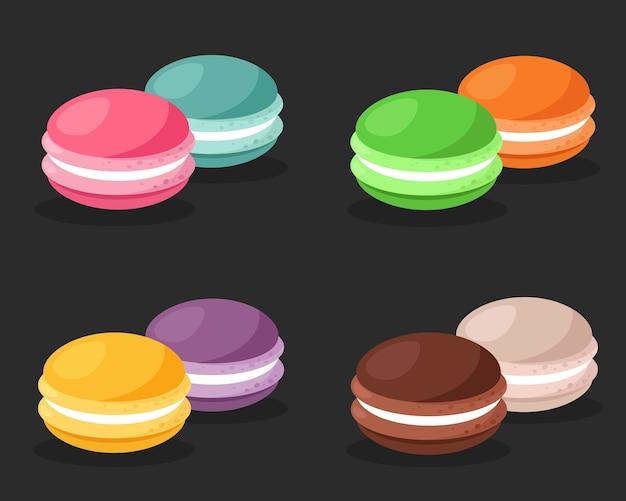 Kolekcja kolorowych makaroników