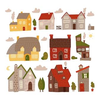 Kolekcja kolorowych małych domów z elementami natury. zestaw do domu słodkiego domu.