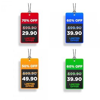Kolekcja kolorowych metek z ceną sprzedaży