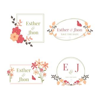 Kolekcja kolorowych monogramów ślubnych