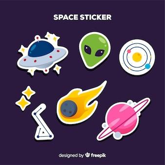 Kolekcja kolorowych naklejek kosmicznych