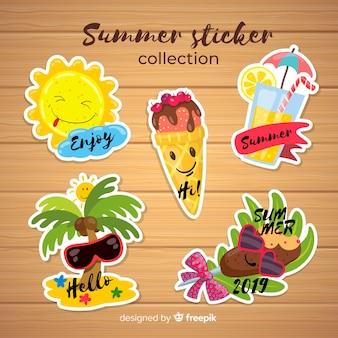 Kolekcja kolorowych naklejek letnich
