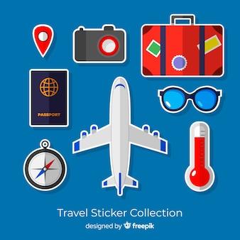 Kolekcja kolorowych naklejek podróżnych