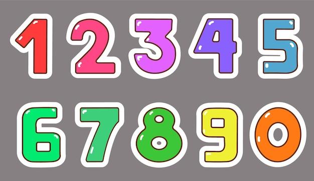 Kolekcja kolorowych naklejek z numerami
