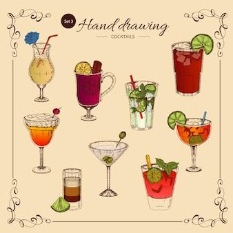 Kolekcja kolorowych napojów alkoholowych