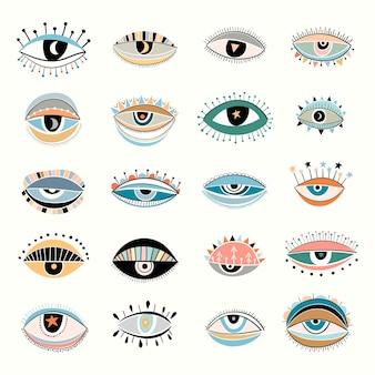 Kolekcja kolorowych oczu na białym tle, nowoczesny design