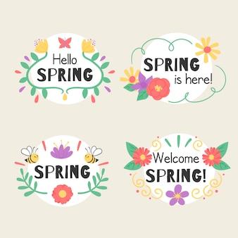 Kolekcja kolorowych odznak z wiosenną tematyką