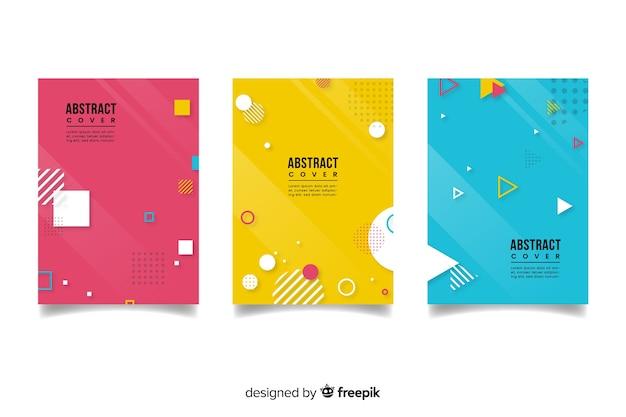 Kolekcja kolorowych okładek abstrakcyjnych o geometrycznych kształtach