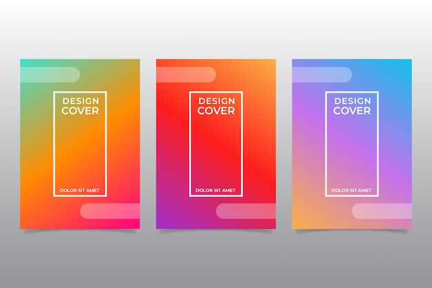 Kolekcja kolorowych okładek abstrakcyjnych w kształcie gradientu.