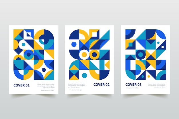 Kolekcja kolorowych okładek geometrycznych biznesowych
