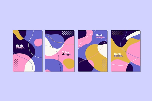 Kolekcja kolorowych okładek o abstrakcyjnych kształtach