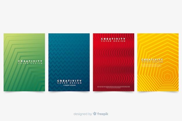 Kolekcja kolorowych okładek streszczenie z geometrycznym wzorem