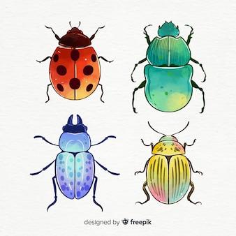Kolekcja kolorowych owadów