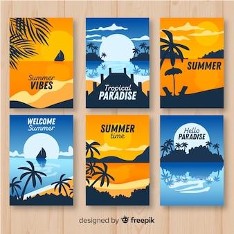 Kolekcja kolorowych plakatów letnich