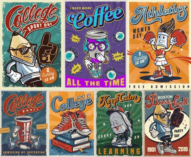 Kolekcja kolorowych plakatów vintage uczelni