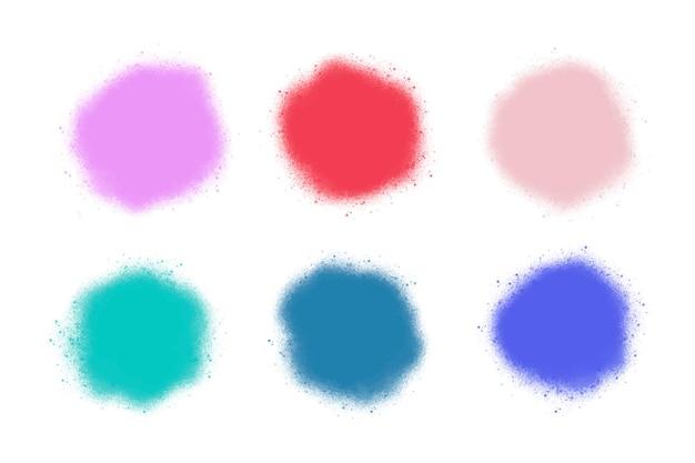 Kolekcja kolorowych plam z aerografu